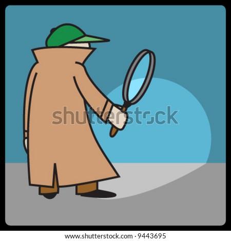 vector cartoon detective - stock vector