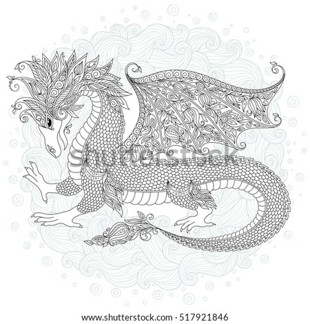 Adults Coloring Book Page Vector Cartoon Dragon Hand Drawn Black White Doodle Sketch Zen Tangle