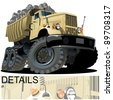 Vector cartoon dump truck - stock vector