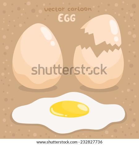 vector cartoon egg, broken egg and fried egg - stock vector