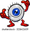 Vector cartoon Eyeball character giving thumbs up and meditating.  Hand drawn artwork in loose, expressive style with NO gradients or blends. - stock vector