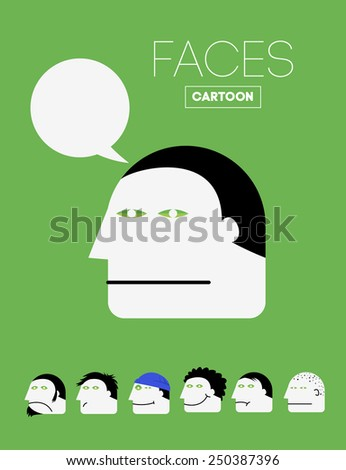 Vector Cartoon Face with Bubble with Set of Emotions Faces. Creative Background for Flyers, Illustrations, Presentation or Magazine. - stock vector