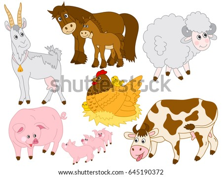 Vector Cartoon Farm Animals Pig Horse Cow Sheep Chicken Goat