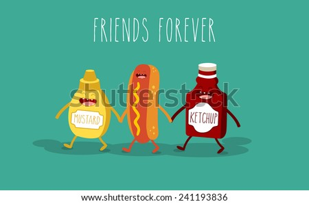 Vector cartoon. fast food. Friends forever. Hot dog, mustard and ketchup. - stock vector