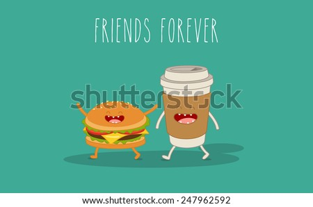 Vector cartoon. Fastfood. Sandwich and coffee. Friends forever. - stock vector