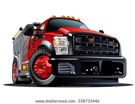 Vector Cartoon Fire Truck. Available EPS-10 vector format separated by groups and layers for easy edit - stock vector