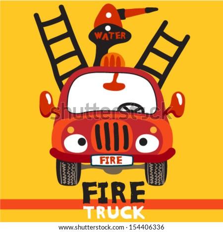 Vector Cartoon Fire Truck for babies - stock vector