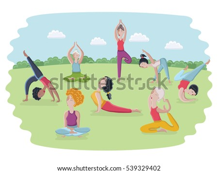 Vector Cartoon Funny Illustration Of Women Make The Different Yoga Poses In Park Outdoor