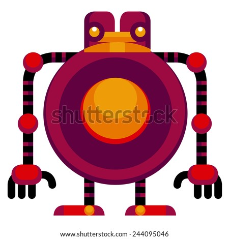 Vector Cartoon Funny Robot Isolated On White Background - stock vector