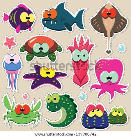 Vector cartoon funny sea animal stickers set - stock vector