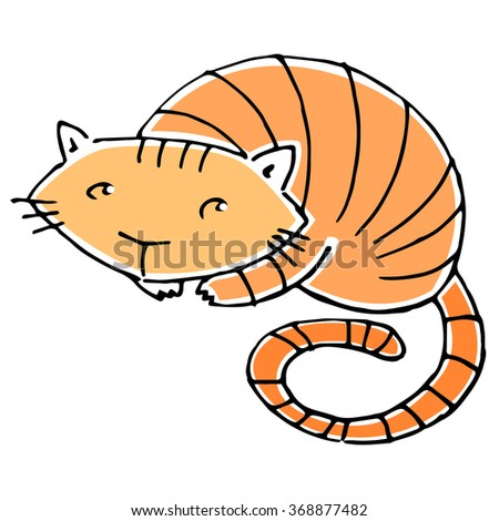 Vector cartoon ginger striped cat isolated on white background. - stock vector