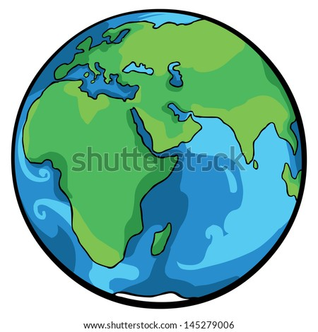 vector cartoon Globe - stock vector