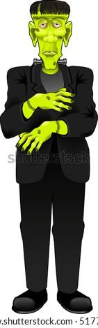 vector cartoon graphic depicting a Frankenstein monster - stock vector