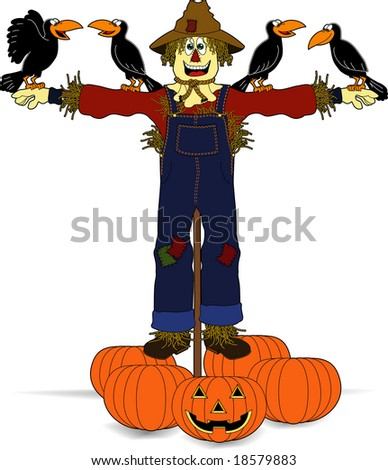 vector cartoon graphic depicting a happy scarecrow with crows and pumpkins - stock vector