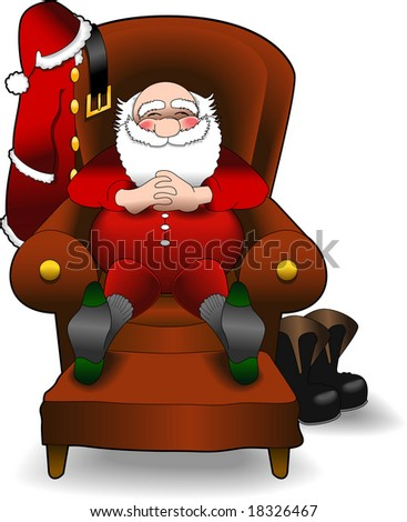 vector cartoon graphic depicting a relaxing Santa Claus