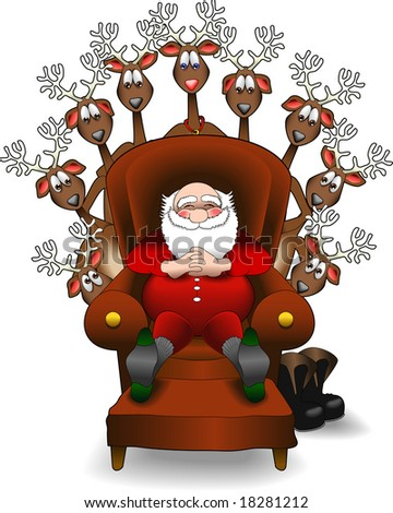 vector cartoon graphic depicting a relaxing Santa Claus and his reindeer - stock vector