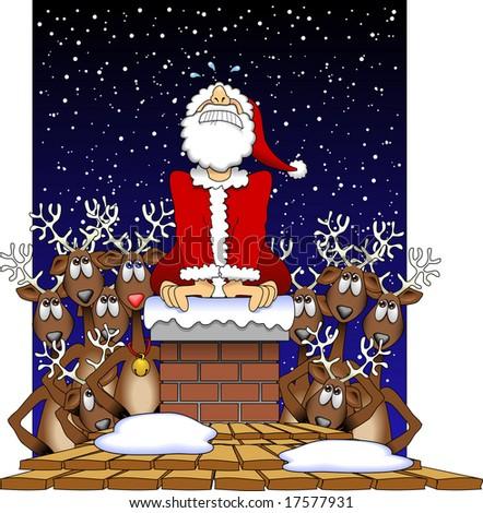 vector cartoon graphic depicting a Santa Claus stuck in a chimney - stock vector
