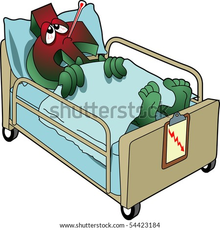 vector cartoon graphic depicting a sick dollar symbol in a hospital bed