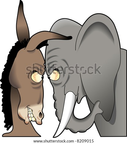 vector cartoon graphic depicting American political mascots, a mule and an elephant