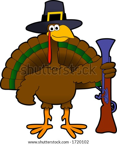 Vector cartoon graphic depicting Thanksgiving Day turkey