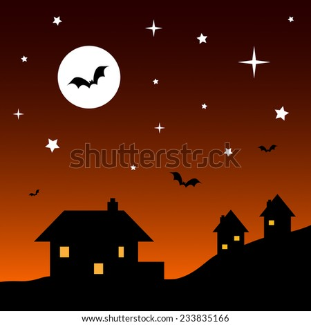 Vector cartoon Halloween illustration of silhouette houses at night with lit windows. The orange gradient sky has bright white stars and a large full moon. There are four flying bats. EPS 10.  - stock vector