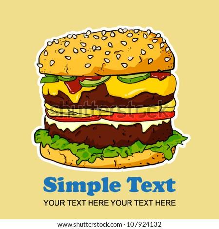 Vector cartoon Ham Burger - stock vector