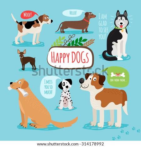 Vector cartoon hand drawn dogs with speech bubbles - stock vector