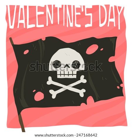 Vector cartoon Happy valentine's day flat greeting card. For game presentation, user interface tablet, smart phone. With cute pirate flag. - stock vector