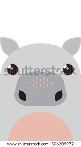 Vector cartoon hippo. Cute hippo character.