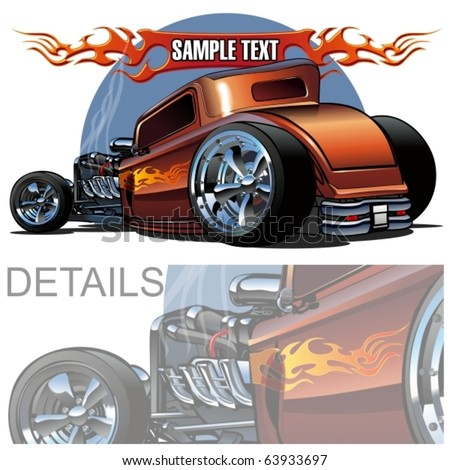 Vector cartoon hot-rod. More vector cartoon cars see in my portfolio. - stock vector