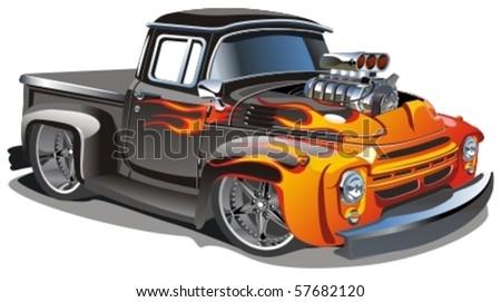 Vector cartoon hot-rod - Original design - stock vector