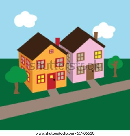 Vector Cartoon Houses - stock vector