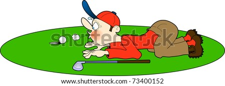 vector cartoon illustration depicting a golfer attempting to cheat by blowing his golf ball into the hole
