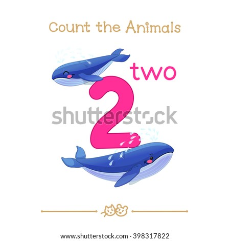 """vector cartoon illustration for two, 2 learn counting with series of """"Count the Animals"""". Baby shower. School manual for teachers. Symbol and designation. Clipart isolated on white background. EPS 10 - stock vector"""