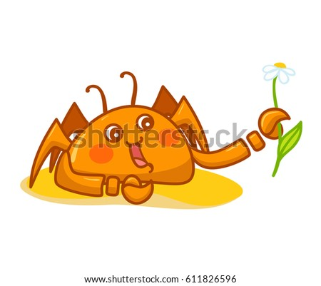 Vector cartoon Illustration, kawaii funny crab with daisy on sand. Flat style, orange, yellow, pink colors. Object isolated on white background