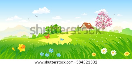 Vector cartoon illustration of a beautiful spring blooming countryside, panoramic landscape - stock vector