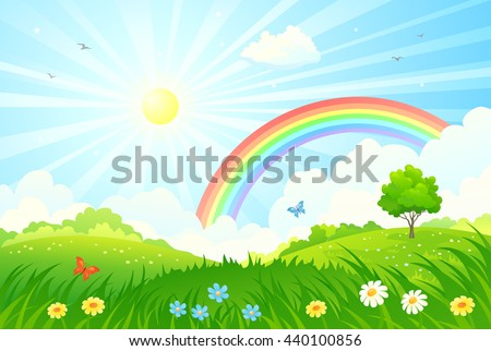 Vector cartoon illustration of a beautiful summer landscape with sun and rainbow - stock vector