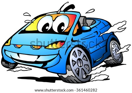 Vector Cartoon illustration of a blue Sports Car Mascot racing in full speed - stock vector