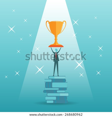 Vector cartoon illustration of a businessman holding a giant golden trophy on top of a stack of books. - stock vector