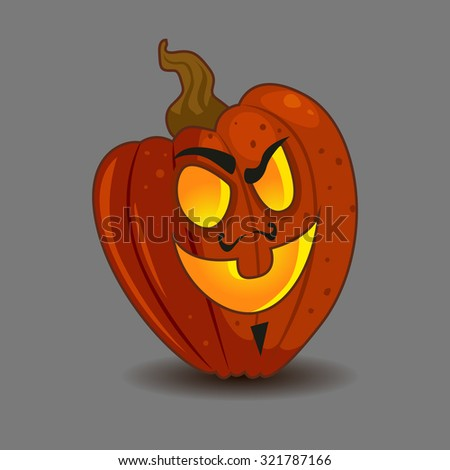 Vector cartoon illustration of a carved Halloween pumpkin Jack o lantern with an evil expression - stock vector