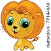 Vector cartoon illustration of a cute lion - stock photo