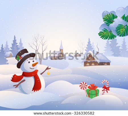 Vector cartoon illustration of a cute snowman at a snowy village - stock vector