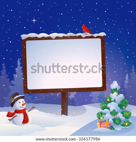 Vector cartoon illustration of a cute snowman at the Christmas signboard and snowy fir tree - stock vector