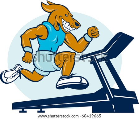 vector cartoon illustration of a Dog running on tread mill isolated on white background