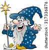 Vector Cartoon illustration of a Happy Old Wizard Magic Man - stock vector