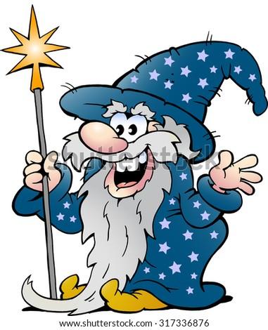 Vector Cartoon illustration of a Happy Old Wizard Magic Man - stock vector