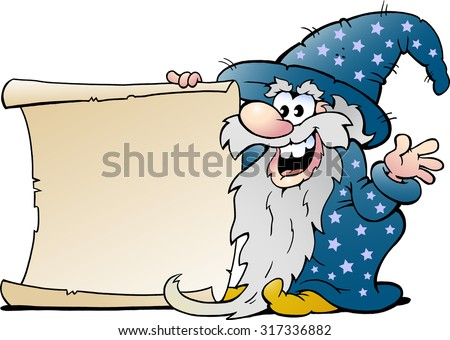 Vector Cartoon illustration of a Happy Old Wizard Magic Man holding a Roll of Paper - stock vector