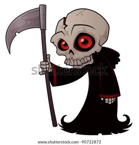 Vector cartoon illustration of a little Grim Reaper with red eyes holding a scythe. - stock vector