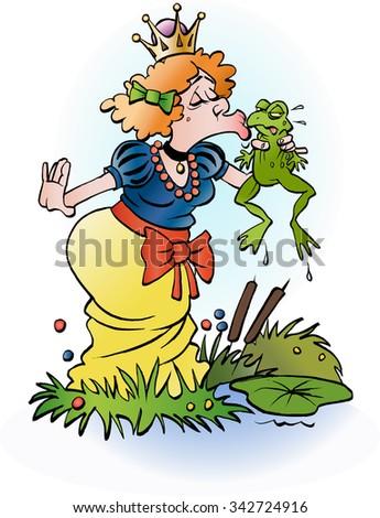 Vector cartoon illustration of a princess kissing a frog - stock vector