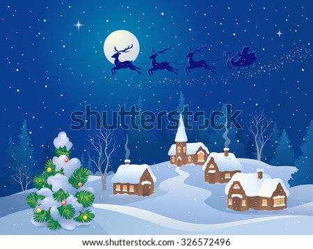 Vector cartoon illustration of a Santa sleigh flying over a small snowy village - stock vector